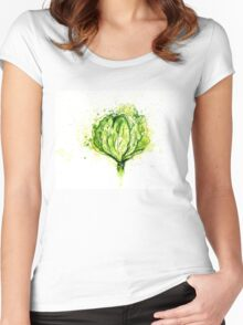 Green Cabbage Watercolor 2 Women's Fitted Scoop T-Shirt