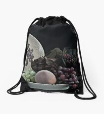 The Ceramic Plate of Fruit Drawstring Bag