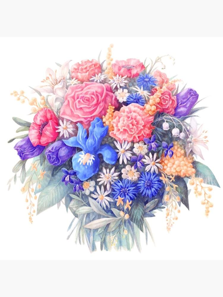 Bouquet De Fleurs Aquarelle Réalisme Botanique Illustration Poster