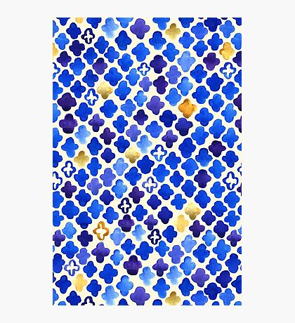 Rustic Watercolor Moroccan in Royal Blue & Gold Photographic Print