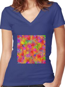 Color Splash Graffiti Women's Fitted V-Neck T-Shirt