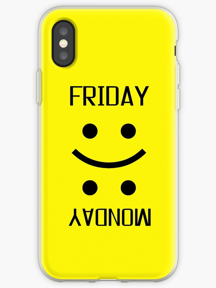 'Friday Monday Weekend Smiley Face Emoji Funny' iPhone Case by WordWorld