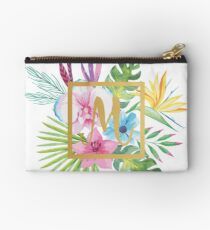 Tropical Floral With Gold Initial M Studio Pouch