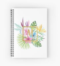 Tropical Floral With Gold Initial M Spiral Notebook
