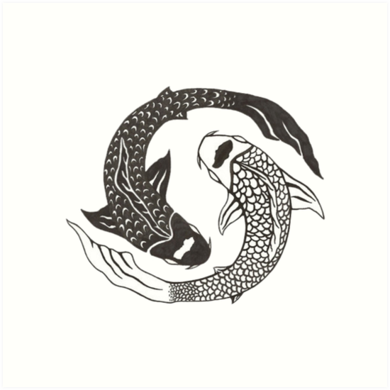 Koi Yin Yang Art Prints By Ravanna Lotus Redbubble