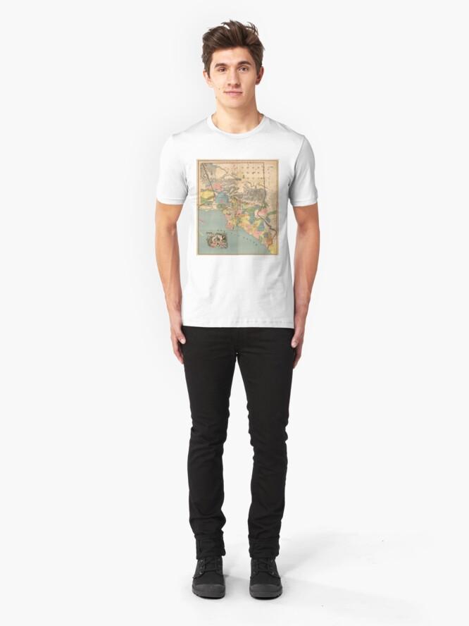 Alternative Ansicht von Vintage Karte von Los Angeles County CA (1888) Slim Fit T-Shirt