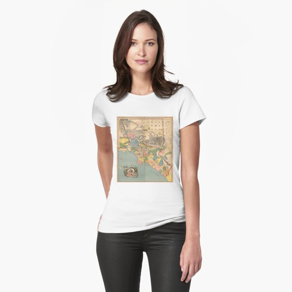Vintage Karte von Los Angeles County CA (1888) Tailliertes T-Shirt
