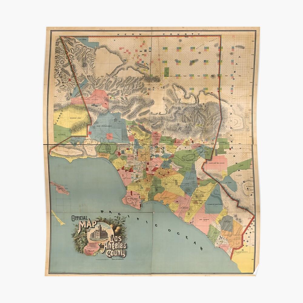 Vintage Karte von Los Angeles County CA (1888) Poster
