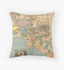 Vintage Map of Los Angeles County CA (1888) Throw Pillow