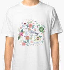Beautiful bird in flowers Classic T-Shirt