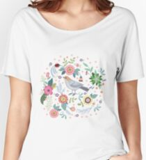 Beautiful bird in flowers Women's Relaxed Fit T-Shirt