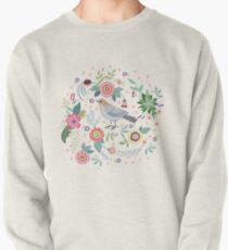 Beautiful bird in flowers Pullover Sweatshirt