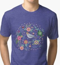 Beautiful bird in flowers Tri-blend T-Shirt