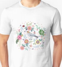 Beautiful bird in flowers Slim Fit T-Shirt
