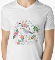 Beautiful bird in flowers Men's V-Neck T-Shirt
