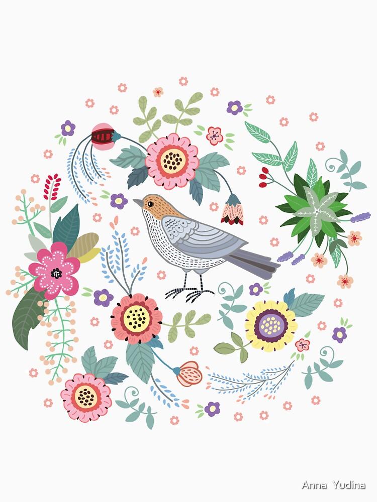 Beautiful bird in flowers von Anutina