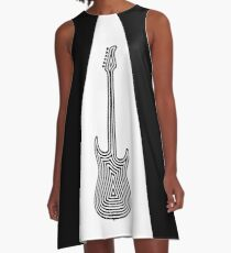 Black and White Electric Guitar A-Line Dress
