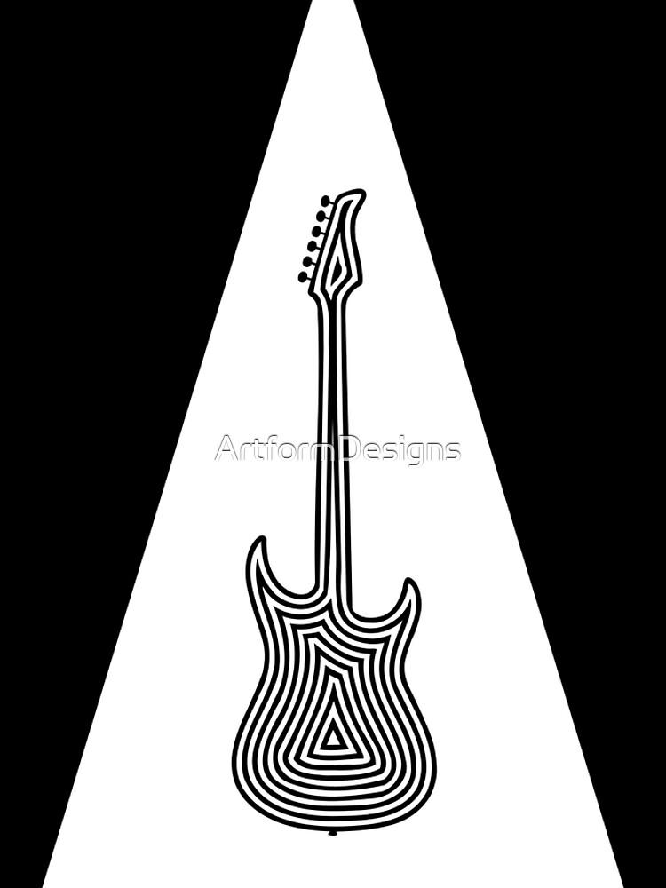 Black and White Electric Guitar by ArtformDesigns