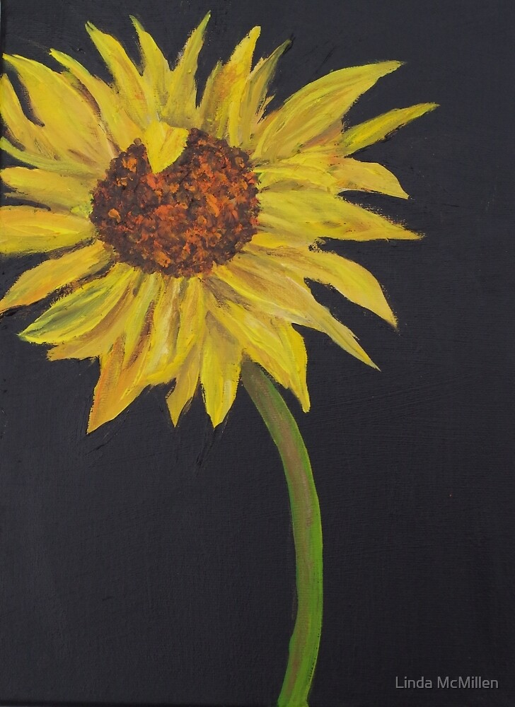 Sunflower on canvas by Linda McMillen