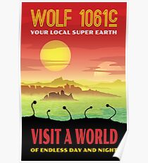 Wolf 1061c Exoplanet Space Travel Illustration Poster