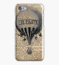 French Hot Air Balloon Vintage Engraving,Old Dictionary Page Background Art iPhone Case/Skin