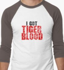 Tiger Blood Charlie Sheen Crazy Funny Quote Random Badass Men's Baseball ¾ T-Shirt