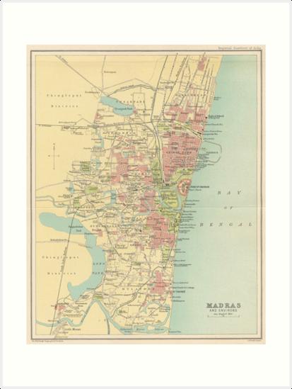 Madras India Map.Vintage Map Of Madras India 1909 Art Prints By Bravuramedia