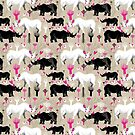 Graphic pattern of rhinoceroses lovers  by Tanor