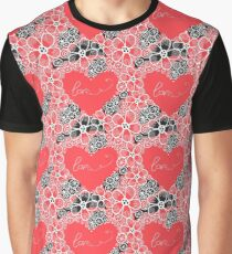 Pattern of flowers and hearts Graphic T-Shirt