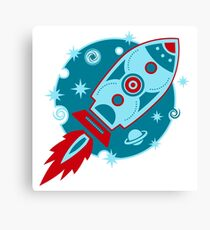Retro rocket, planet, space, galaxy, science fiction, stars Canvas Print
