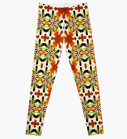 Orange Patterned Overload  Leggings