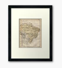 Vintage Map of Brazil (1889) Framed Print