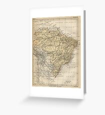 Vintage Map of Brazil (1889) Greeting Card