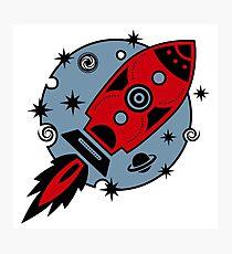 Retro rocket, planet, space, galaxy, science fiction, stars Photographic Print