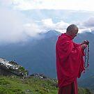 Buddhist monk in the clouds by Istvan Hernadi