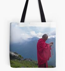 Buddhist monk in the clouds Tote Bag