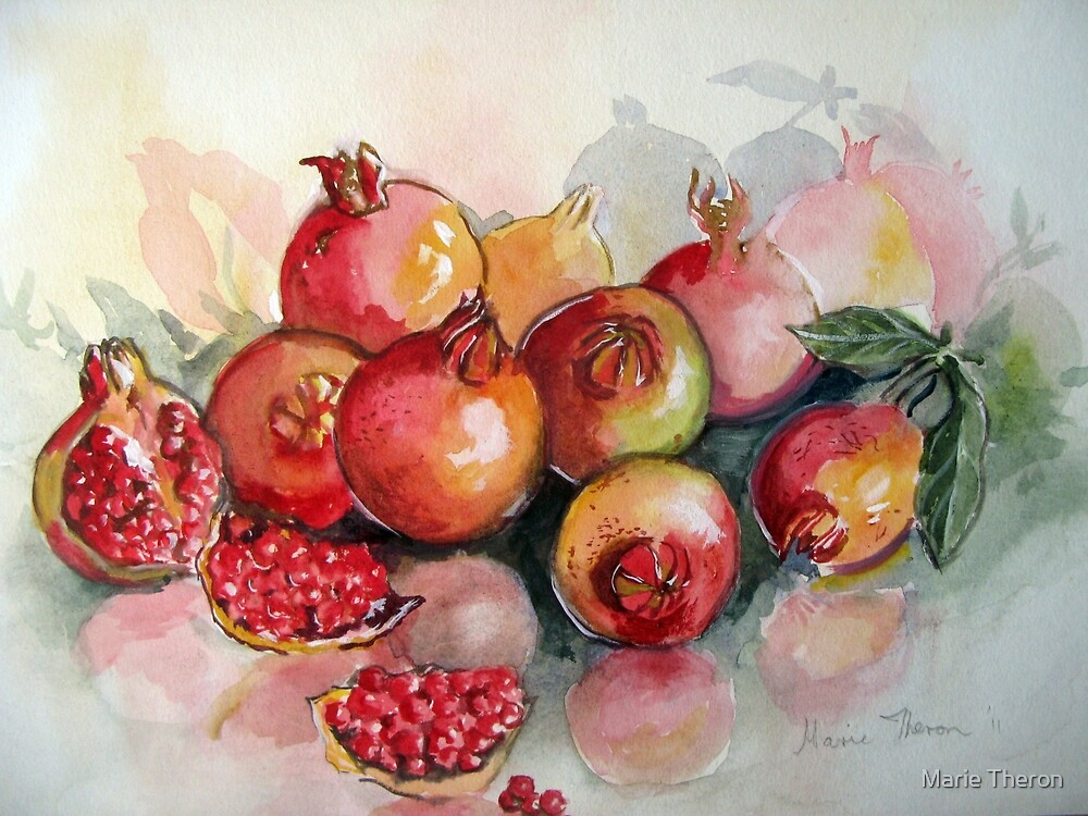 Pomegranates in Watercolour by Marie Theron