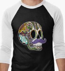 Mustache Sugar Skull (Color Version) T-Shirt