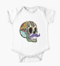 Mustache Sugar Skull (Color Version) Kids Clothes