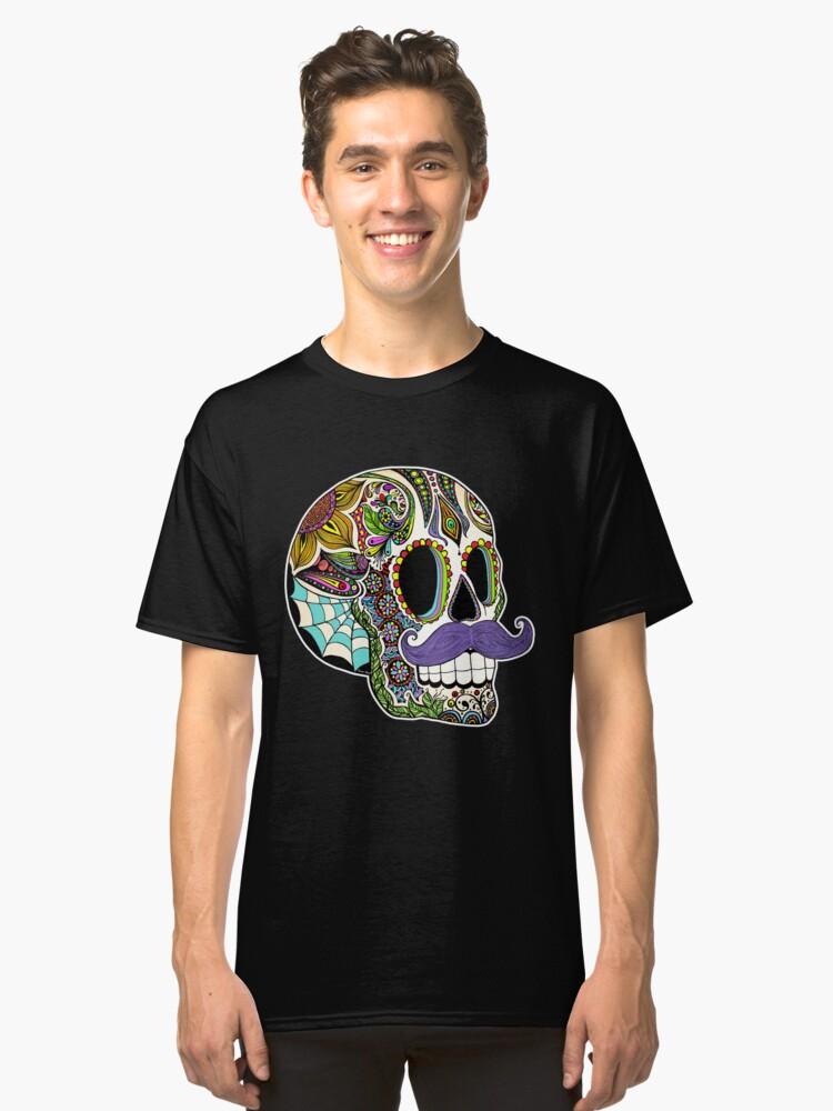 Mustache Sugar Skull (Color Version) Classic T-Shirt Front