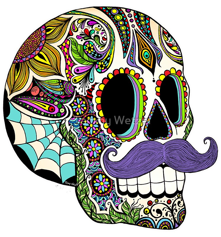 Quot Mustache Sugar Skull Color Version Quot Stickers By Tammy