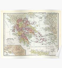 Vintage Map of Greece (1903) 2  Poster