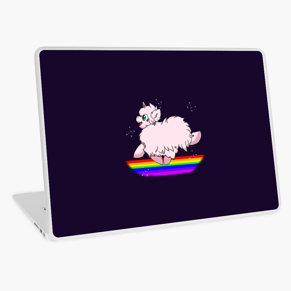 Pink Fluffy Unicorns Dancing on Rainbows Feat  Flufflepuff | Laptop Skin