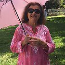 Mum with Pink Umbrella by Heidi  Jacobsen