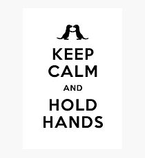 Keep Calm and Hold Hands (Otters holding hands) Black design Photographic Print