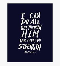 Philippians 4: 13 x Navy Photographic Print