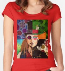 Johnny Depp Character Collage Women's Fitted Scoop T-Shirt