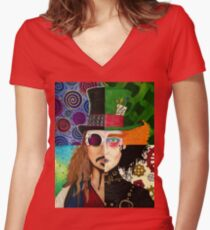 Johnny Depp Character Collage Women's Fitted V-Neck T-Shirt