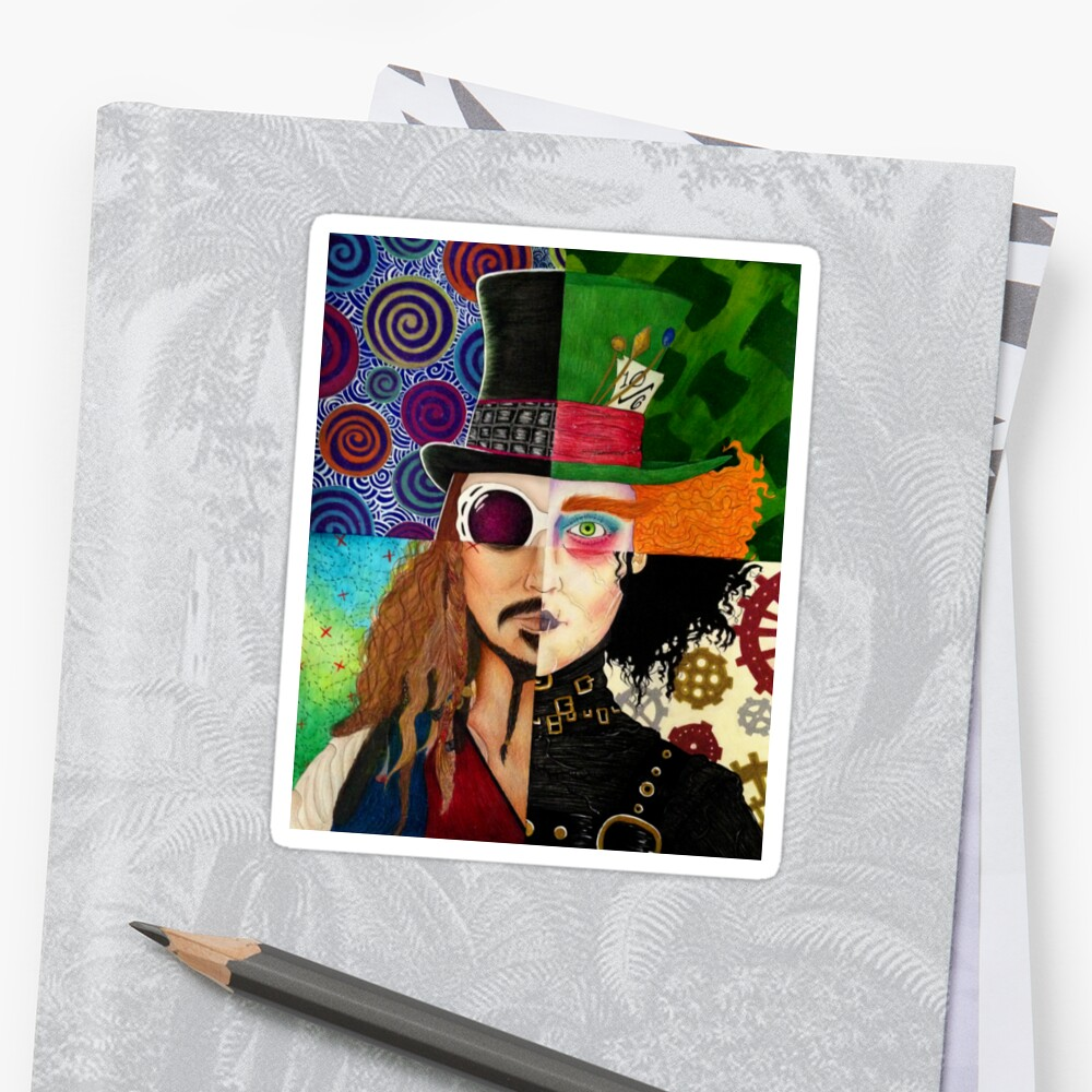 Johnny Depp Character Collage Stickers By Vanessa Delgado Redbubble