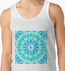 Blue Ice Goddess, Aqua Cyan Star Mandala Tank Top